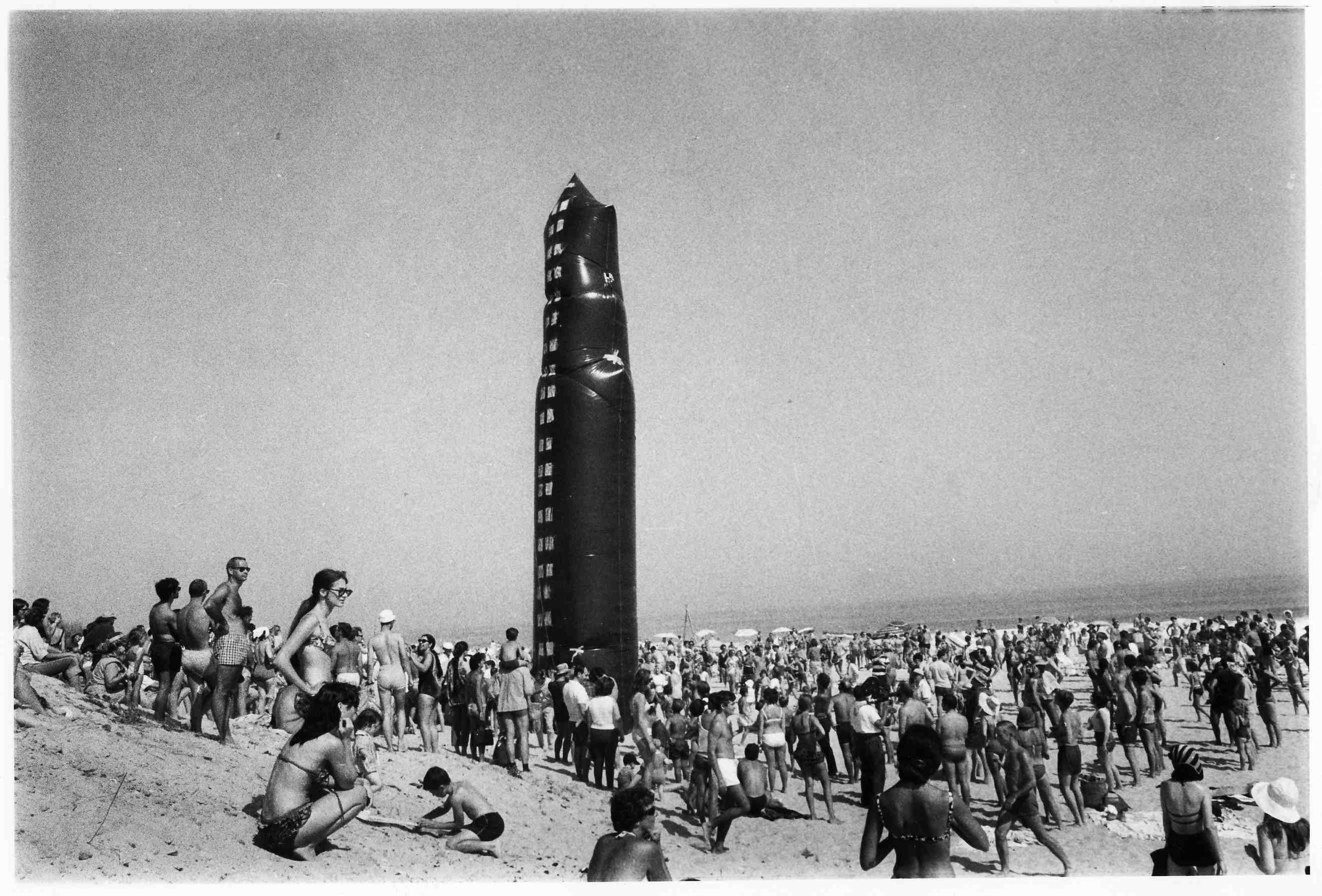 "Happening # 6, ""Soft Skyscraper,"" plastic inflatable, Indian Wells Beach, August, 1966"