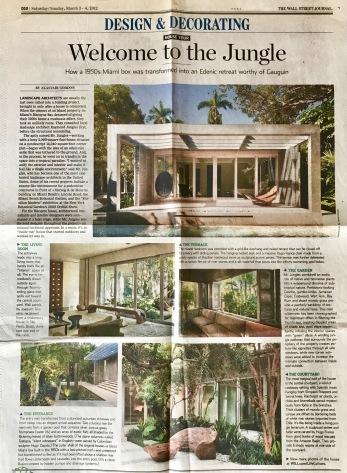 Raymond Jungles house, Miami, WSJ.
